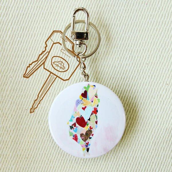 化妝鏡鑰匙圈-LOVE TAIWAN