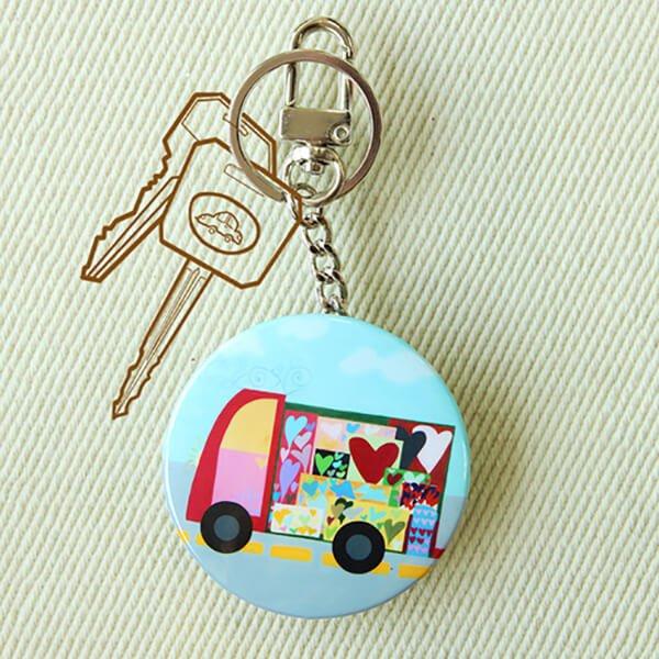 化妝鏡鑰匙圈-Go Go Car