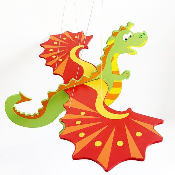 英勇噴火恐龍飛翔木製吊飾❤ 紀念日、聖誕節、生日禮、新居禮