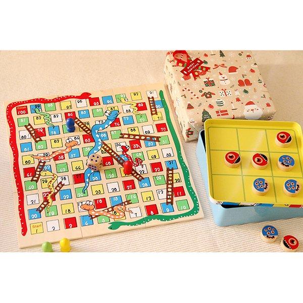 派對破冰兩用桌遊:木製蛇棋+井字遊戲❤ 兒童節、感恩節、聖誕節、生日禮