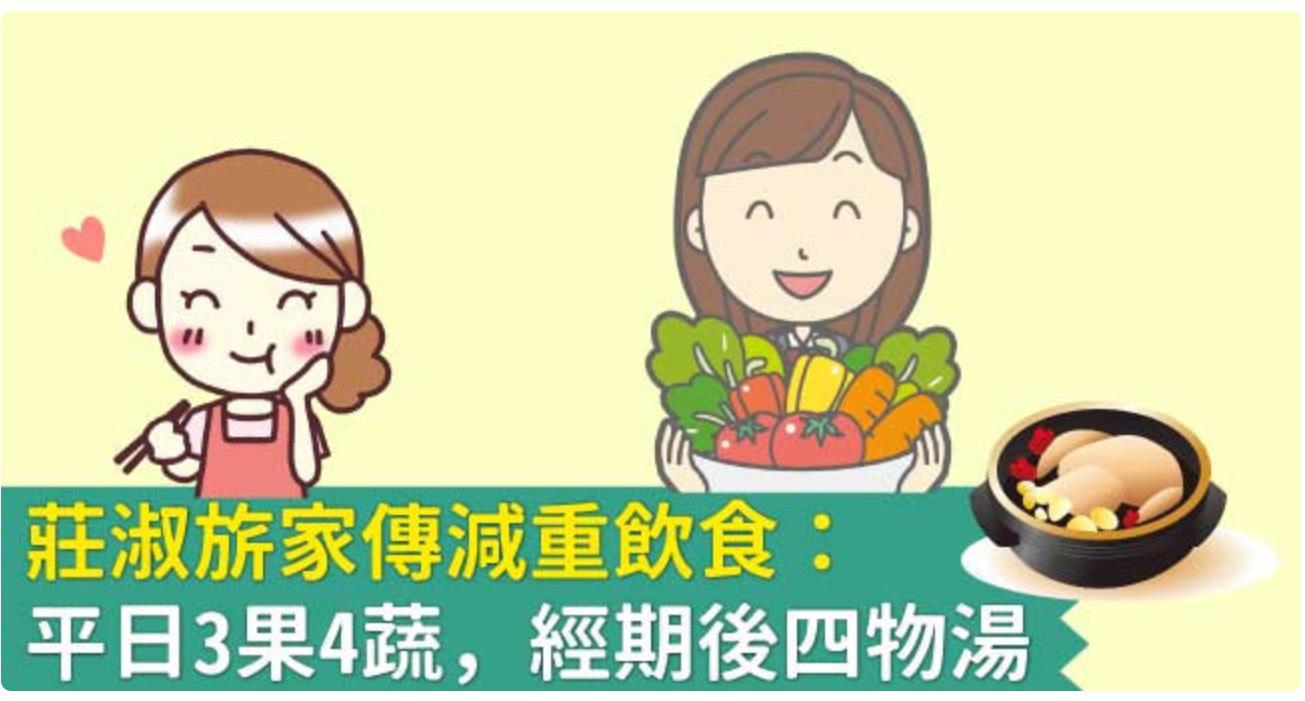 莊淑旂家傳 減重飲食:平日3果4蔬,經期後四物湯
