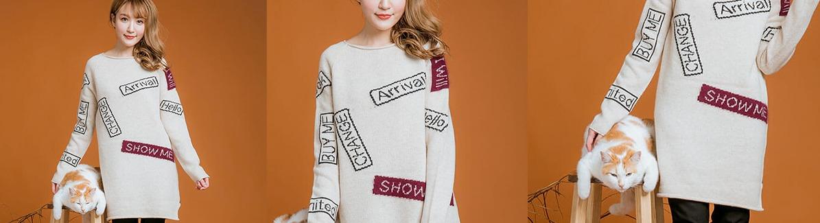 ㊣韓 羊毛 針織仿貼布洋裝樣本