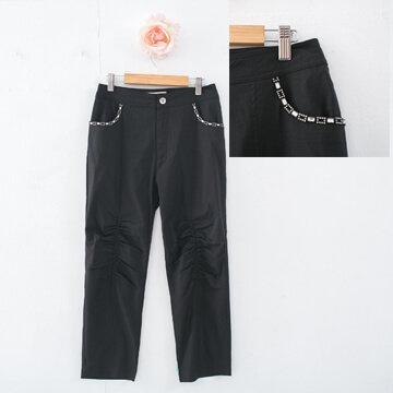 §獨具衣格§G7516口袋鑽飾涼感7分褲(8015)