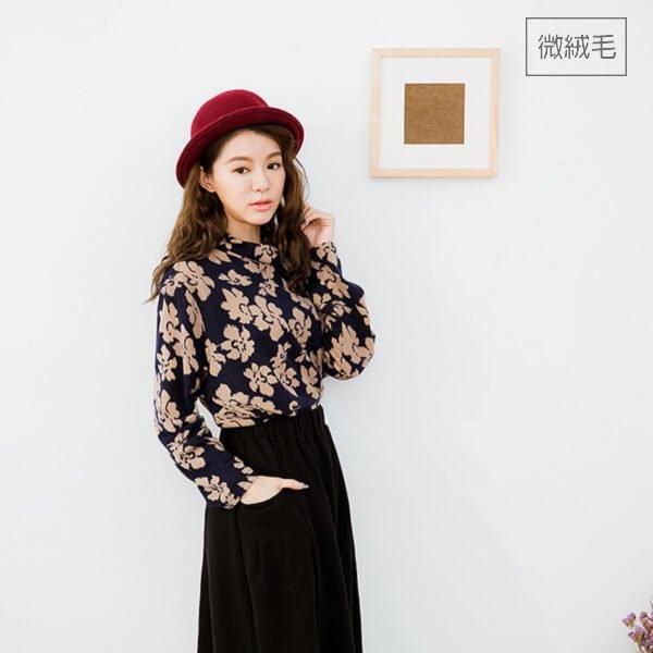 §獨具衣格§ 日本直送 G8478 韓國製 花朵印花不規則拼接上衣-大尺碼