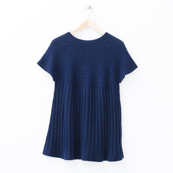 §獨具衣格§ 日本直送 2007 日本製 一體成型無接縫 圓領A字下擺長版針織毛衣樣本