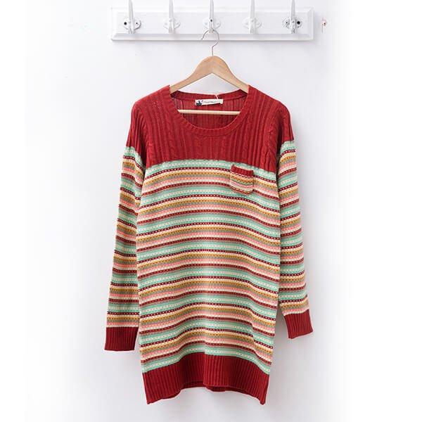 §獨具衣格§ 日本直送 2097 彩色條紋針織毛衣樣本