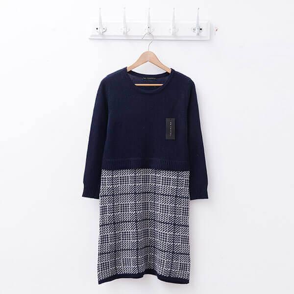 §獨具衣格§ 日本直送 2103 羊毛 素面拼接千鳥格洋裝樣本