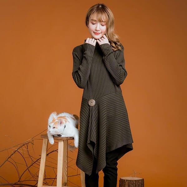 §獨具衣格§ 日本直送 2131 顯瘦設計款不規折下擺針織洋裝樣本【顯瘦推薦】