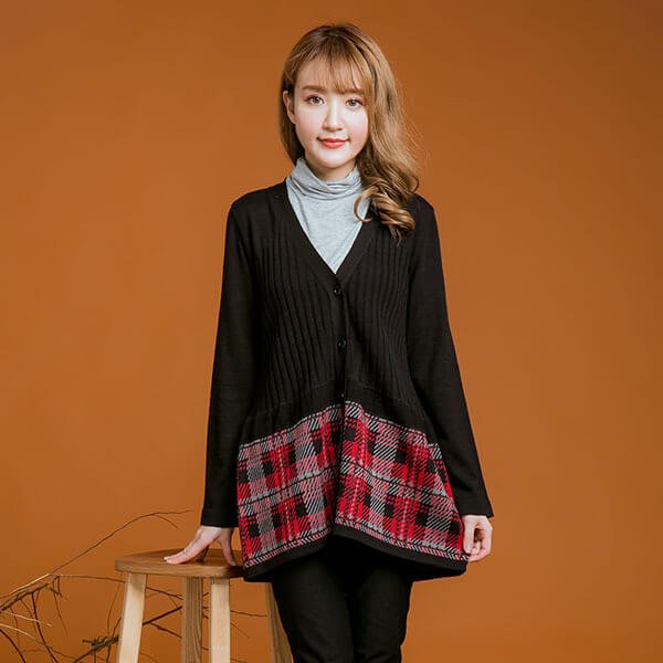 §獨具衣格§ 日本直送 2139 日本製 羊毛 格紋V領針織外套樣本