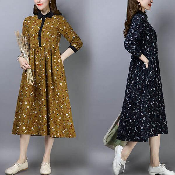 §獨具衣格§ J1261 棉麻 小碎花襯衫領傘狀洋裝