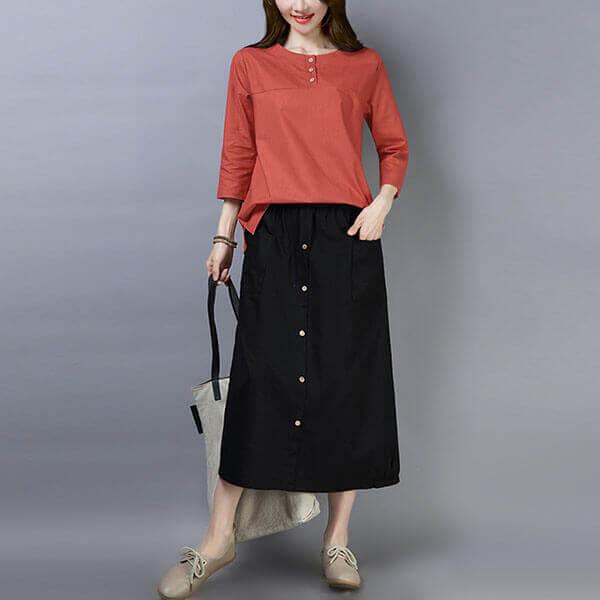 §獨具衣格§ J1277 素雅木釦裝飾撞色套裝(上衣+裙子)-中大尺碼