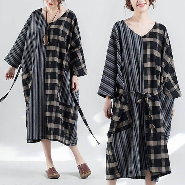 §獨具衣格§ J1282 棉麻格紋拼接感綁袋洋裝-大尺碼