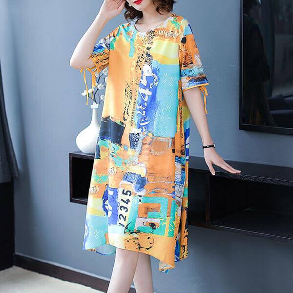 §獨具衣格§ J1290 絲質 藝術風印花洋裝-中大尺碼