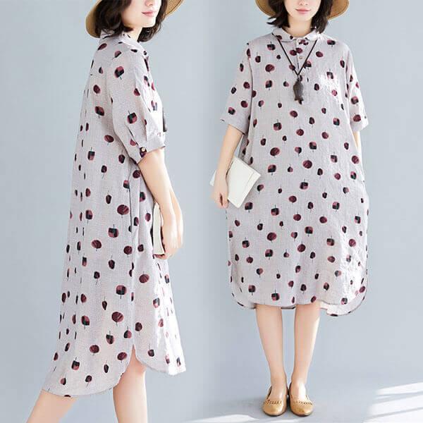 §獨具衣格§ J1318 藕粉色 小樹印花襯衫領洋裝-大尺碼