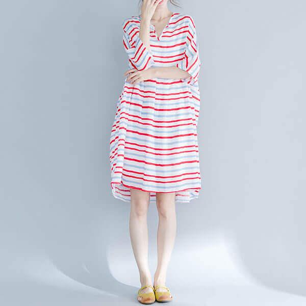 §獨具衣格§ J1329 日系配條輕柔布料洋裝-大尺碼