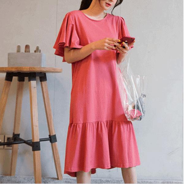 §獨具衣格§ J1392 歐美顯瘦版型荷葉洋裝-多尺碼