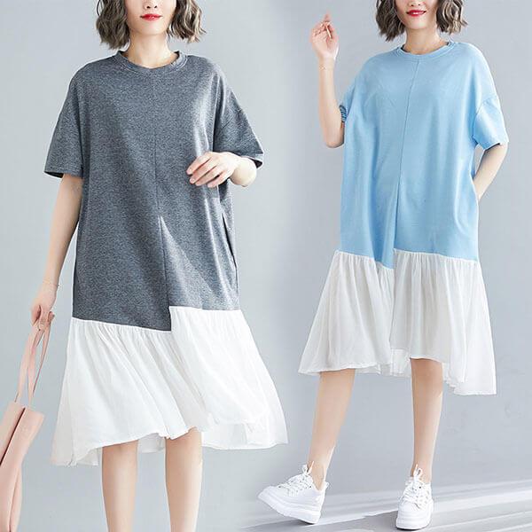 §獨具衣格§ J1416 韓系 休閒風下襬拼接洋裝-大尺碼