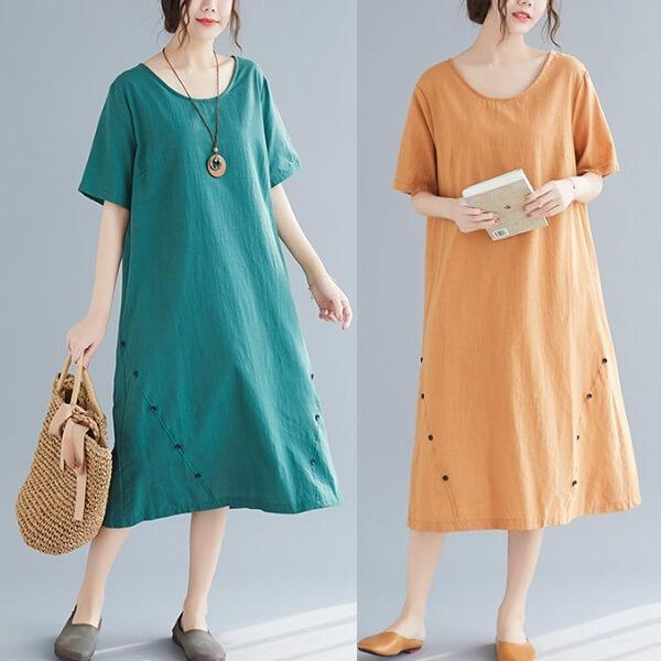 §獨具衣格§ J1432 棉麻 純色下襬釦子裝飾洋裝-大尺碼