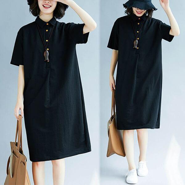 §獨具衣格§ J1469 棉質 襯衫領釦子裝飾洋裝-大尺碼
