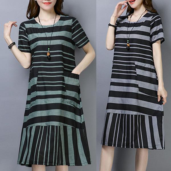 §獨具衣格§ J1475 棉麻 配條感拼接顯瘦洋裝