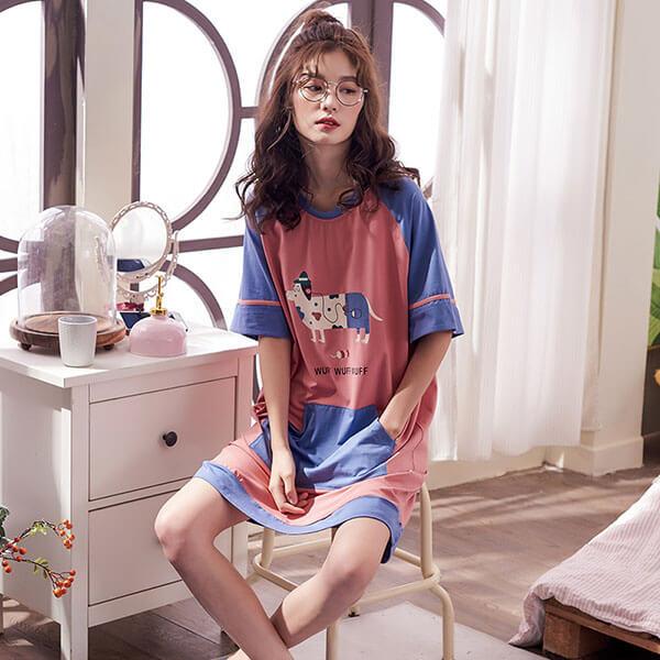 §獨具衣格§ J1495 棉質 可愛圖案居家服睡衣洋裝-中大尺碼