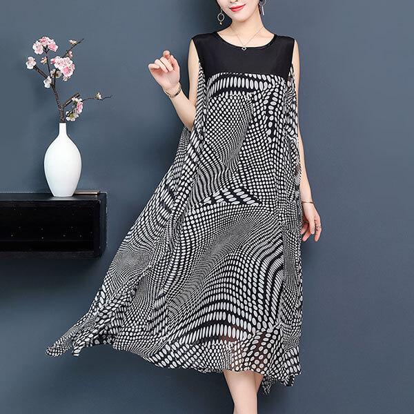 §獨具衣格§ J1507 絲質 飄逸感點點印花背心洋裝-大尺碼