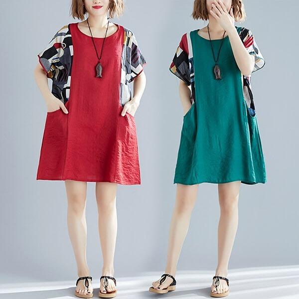§獨具衣格§ J1668 時髦袖口拼接花布洋裝-多尺碼
