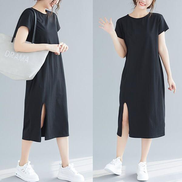 §獨具衣格§ J1673 顯瘦版型素色下開衩洋裝-大尺碼