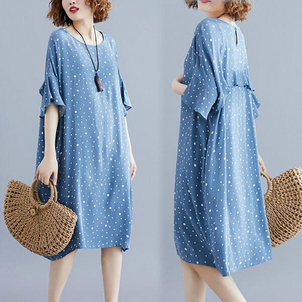 §獨具衣格§ J1706 女神款 藍色點點飄逸感洋裝-大尺碼