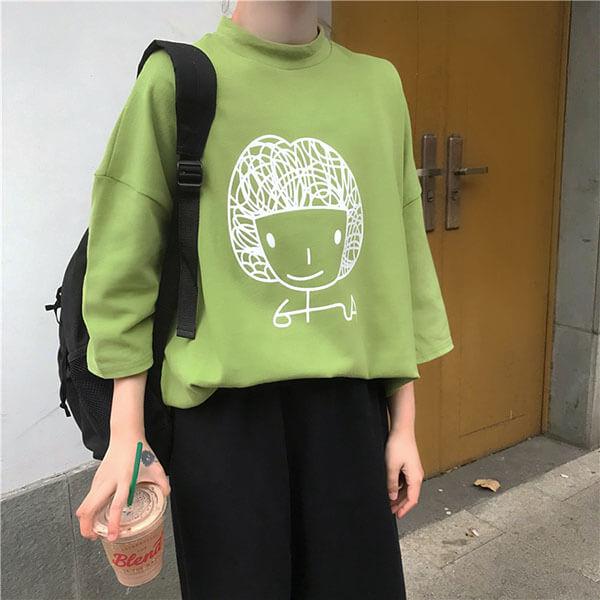 §獨具衣格§ J1738 韓系 女孩印花寬鬆棉T上衣-中大尺碼