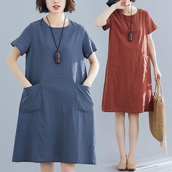 §獨具衣格§ J1745 直條紋素色雙口袋洋裝-多尺碼
