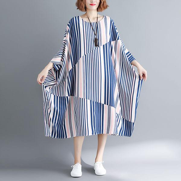 §獨具衣格§ J1976 雪紡 顯瘦寬鬆直條紋洋裝-大尺碼