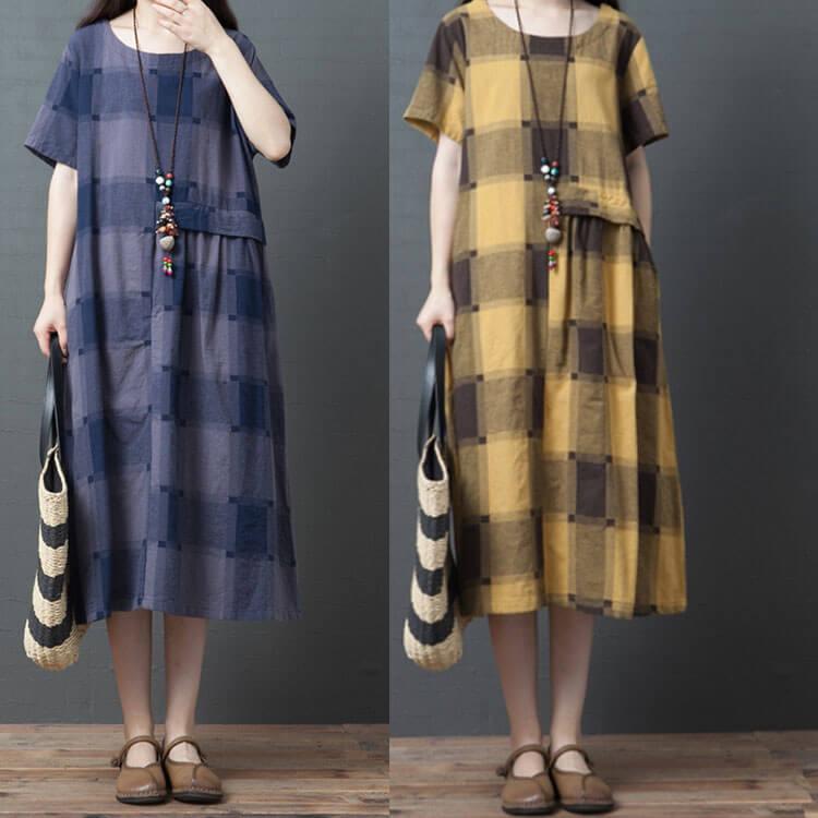 §獨具衣格§ J1989 棉麻 格子造型顯瘦洋裝-中大尺碼