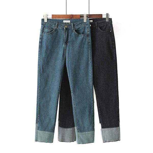 §獨具衣格§ J1996 顯瘦彈性丹寧牛仔九分褲