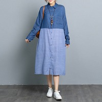 §獨具衣格§ J2002 丹寧拼接直條布襯衫洋裝外套-中大尺碼