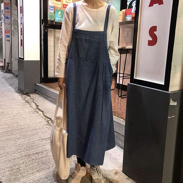 §獨具衣格§ J2005 早秋丹寧大口袋吊帶洋裝-中大尺碼