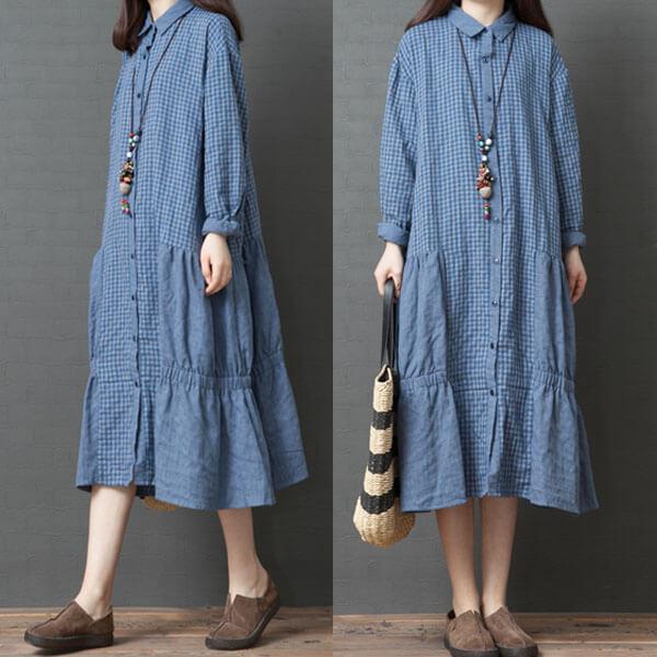 §獨具衣格§ J2006 下襬造型小格子襯衫洋裝外套-中大尺碼
