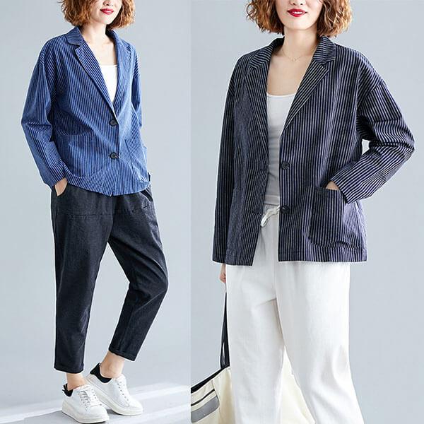 §獨具衣格§ J2022 棉麻 直條紋顯瘦西裝外套-多尺碼