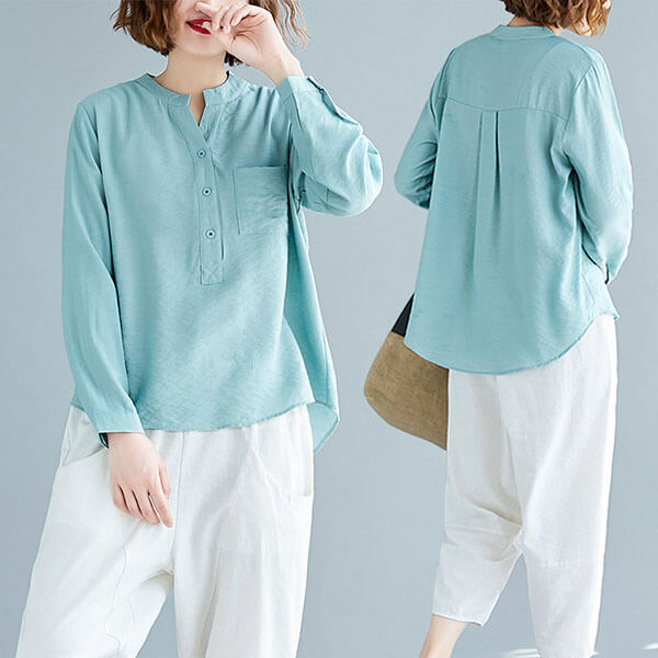 §獨具衣格§ J2035 棉綢 素色前短後長上衣-中大尺碼