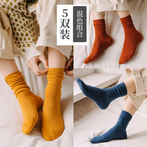 §獨具衣格§ H499 捲邊素色長襪(五雙入)