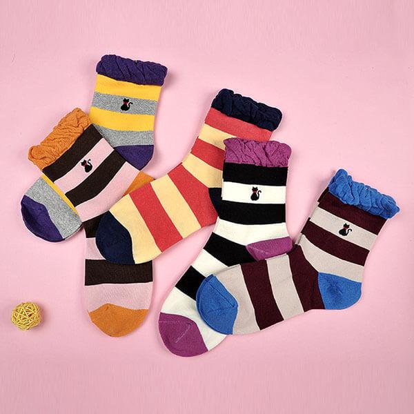 貓咪刺繡滾花邊長襪
