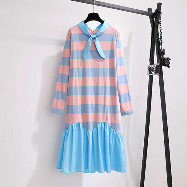 春季新品配條領綁帶洋裝-大尺碼 J2456 獨具衣格