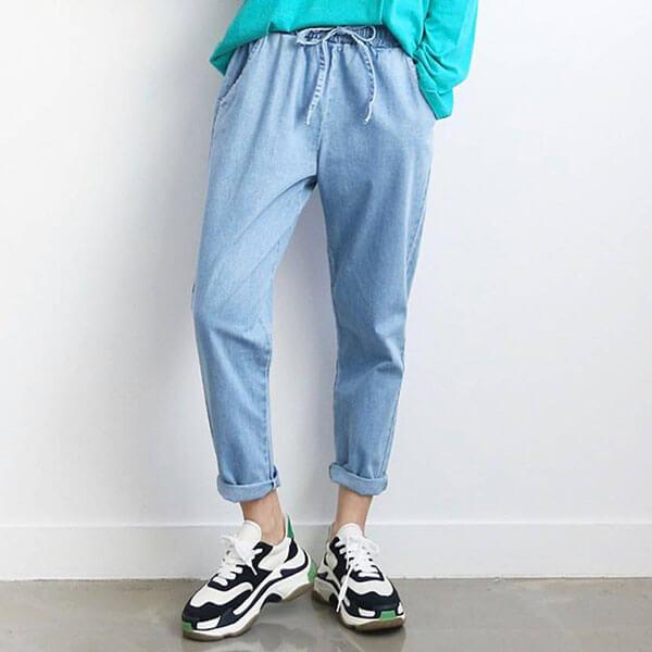 正韓 綁帶顯瘦牛仔褲L-2L 獨具衣格 J2501