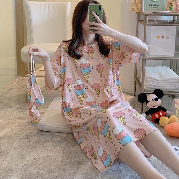 冰淇凌印花家居服洋裝(附收納袋)-大尺碼 獨具衣格 J2841