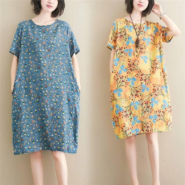 棉綢文藝封印花洋裝-中大尺碼 獨具衣格 J2850