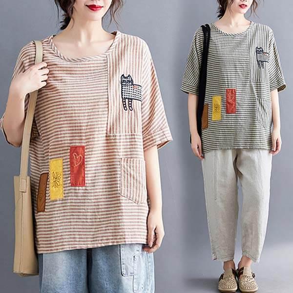 棉麻 貓咪貼布條紋上衣-中大尺碼 獨具衣格 J2867