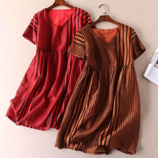 粗細條紋顯瘦洋裝-中大尺碼 獨具衣格 J2886