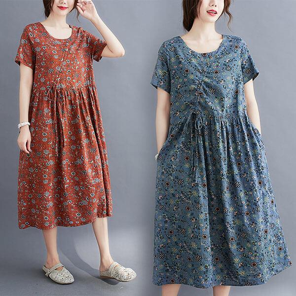 棉綢日系碎花抽繩設計洋裝-中大尺碼 獨具衣格 J2998
