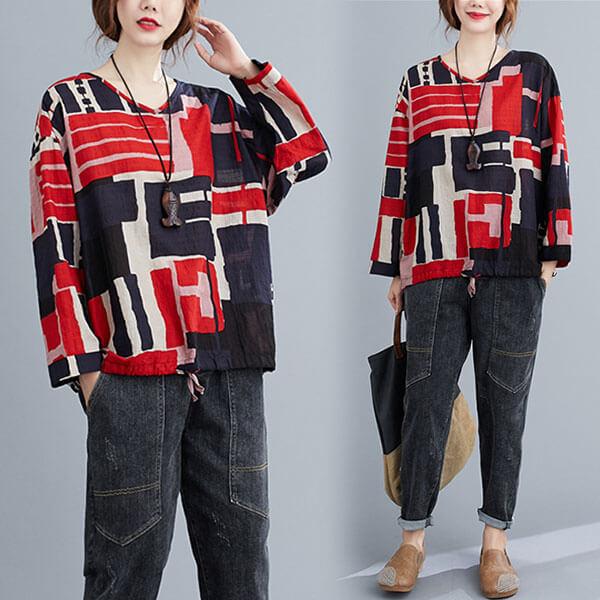 棉綢幾何印花V領下綁帶上衣-大尺碼 獨具衣格 J3095