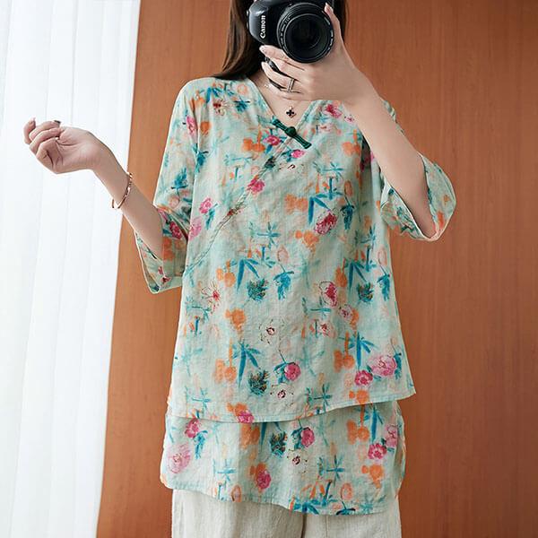 棉綢中國結雙層上衣-大尺碼 獨具衣格 J3096